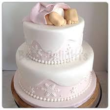 Winter Wonderland Baby Shower Cake Feet Pink Snowflakes