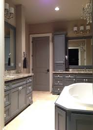 Chandelier Over Bathtub Soaking Tub by Grey Master Bathroom Dark Grey Cabinets With Bianco Romano