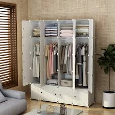MAGINELS Closet Shelves Wardrobe Clothes Organizer Cube Storage Armoire Cabinet Dresser For Bedroom Portable Wood Grain 8 Cube 4 Hanging Section