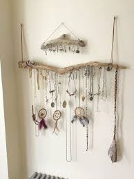 Driftwood Jewelry Organizer Wall Hanging Necklace Holder Bracelet Hanger Earring Display Tree