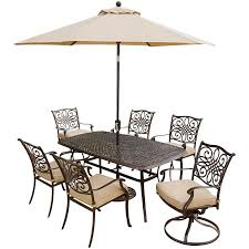 Hanover Traditions 7 Pc. Outdoor Dining Set Of Four Dining Chairs, Two  Swivel Chairs, Dining Table, Umbrella, And Base, TRADITIONS7PCSW-SU Four Ding Chairs In Stain Beech Teak Upholstered With Black Leatherette Art Nouveau Or Deco Shield Back Antique Ding Chairs Set Of Vintage Four By Helge Sibast For Early 19th Century Round Bdmeier Table Moes Home Collection Calvin Sadlers Johannes Andersen Denmark Circa 1950 Victorian Walnut The Shop Fashionchrystal Setfour Includedtransparent 5 Pc Counter Height Room Setpub And 4 East West Fniture Mid Modern Lawrence Peabody