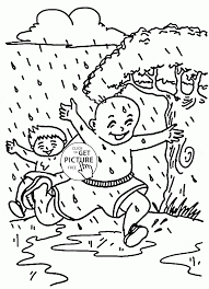 Summer Rain Coloring Page For Kids Seasons Pages In