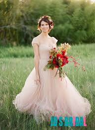 JOL240 Blush Pink Colored Cap Sleeves Flowy Tulle Wedding Dress