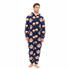 adults mens xmas all in one with hood christmas festive nightwear