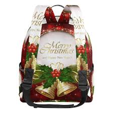 Amazoncom Christmas Golden Bell Red School Backpack Canvas