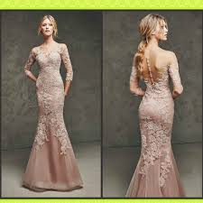 lace formal gown mermaid long sleeve celebrity evening dress