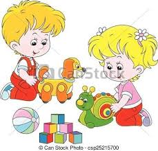 Children Playing Toys Clipart