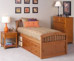 School House Pecan Finish Captains Bed
