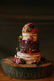 Chocolate Wedding Cake Inspiration Tiered Naked Ideas Berries Roses