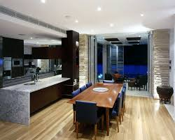 Kitchen And Contemporary Dining Room Designs With Rustic Set CAbinet Wooden FLoor Combined