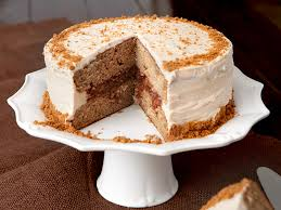 Caramel Apple Spice Cake With Cream Cheese Frosting Garnished Crushed Speculoos Cookies