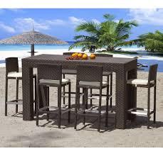 wicker bar height patio set high top modern outdoor wicker dining set