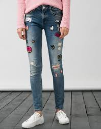bsk jeans with contrasting patches discover this and many more