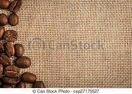 Coffee Beans Background Border Over Burlap Sack