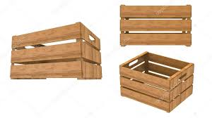 Wooden Crate Empty Perspective And Front Isolated On White