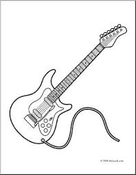 Clip Art Electric Guitar Coloring Page I Abcteach