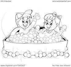Lineart Clipart of a Cartoon Black and White Boy and Girl Playing