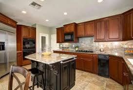 5 Tags Traditional Kitchen With Golden Cascade Granite Countertop Sand Ceramic Tile OPR3 RTF Cabinet Doors