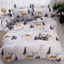 Cartoon Christmas Tree Elk Bedclothes Simple Fashion Geometric Stripes Plaid Bed Sheet Duvet Cover Sets 3 Bedding Set King On Sale Covers