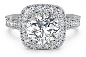 Vintage Style Cushion Cut Halo Engagement Ring And Surprise Diamonds In 18k White
