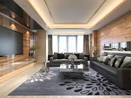 luxus der wiedergabe 3d und modernes wohnzimmer mit ledernem
