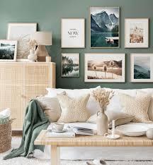 unberührte natur bilderwand wandgestaltung wohnzimmer eichenrahmen