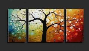 Buy Wieco Art 3 Piece Lucky Tree Stretched And Framed Hand Painted Modern Canvas Wall Set In Cheap Price On Alibaba