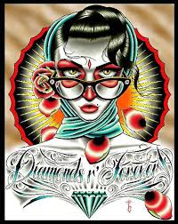 Diamonds R Forever By Tyler Bredeweg Vintage Style Tattoo Artwork Stetched Canvas Giclee Art Print Color