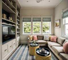 Cozy Family Room With Built In Entertainment Center Bookshelves
