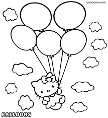 Hello Kitty With Balloons Coloring Page Throughout Balloon