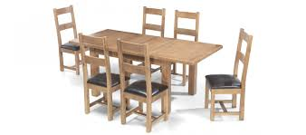 100 6 Oak Dining Table With Chairs Rustic 132 198 Cm Extending And Black