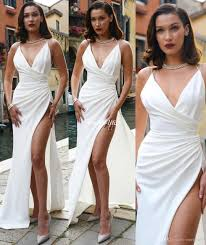 white bella hadid evening party gowns spaghetti high thigh split