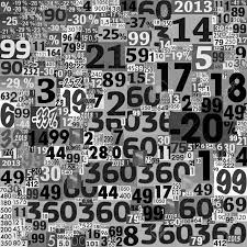 20048472 Designed Background Collage Of Numbers Made Newspaper Clippings Black And White Stock Photo