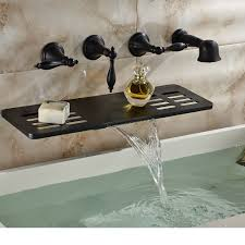 Unlacquered Brass Lavatory Faucet by Triton Wall Mount Bathroom Faucet Lever Handles Bathtub Delta