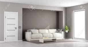 modernes braunes wohnzimmer mit weißem sofa und geschlossener tür wiedergabe 3d