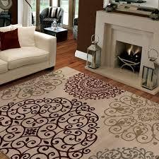 Living Room Carpet Pattern Bright Sofa Fireplace