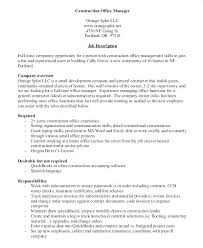 Company Driver Job Description Construction Office Manager Sample Jobs Template Resume Example