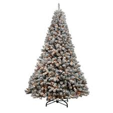 DONNER BLITZEN 9 Alberta Flocked Spruce Christmas Tree With 1000 Clear Never Out Lights