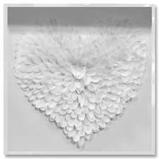 White Feather Heart Framed Painting Print On Shadow Boxes