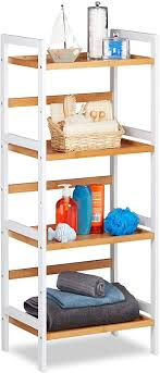 relaxdays badregal ablagen für kosmetik handtücher utensilien bambusregal badezimmer hbt 110x45x31 5 cm weiß natur