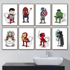 wc waschraum badezimmer superman batman wand kunst leinwand