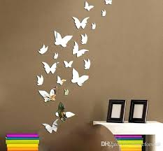 Wall Art Decor Stickers Set Butterfly Mirror Effect Decal Sticker Home Decoration