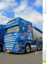 100 Scania Truck Blue Detail With Blue Sky And Clouds Editorial Image