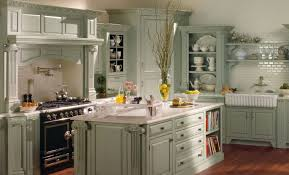 Graceful French Country Kitchen Cabinets With Custom Looks Adorable Galley Design Blue
