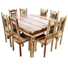 Peoria Solid Wood Large Square Dining Table Chair Set For 8 People