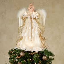 Majestic Angel Lighted Christmas Tree Topper Ivory Gold Touch To Zoom