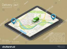 100 Gps Truck Route City Map Navigation Phone Point Stock Vector Royalty