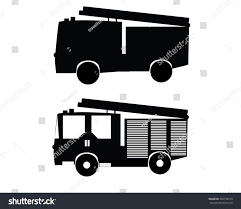 Black Firetruck On White Stock Vector (Royalty Free) 250136218 ...