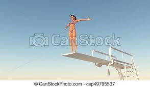 Sportswoman On A Diving Board