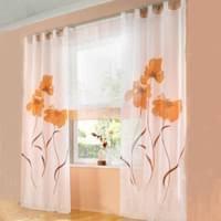 2 stücks gardinenschal gardine print blumen vorhang für wohnzimmer schlafzimmer schlaufenschal breit 150cm hoehe 245cm orange